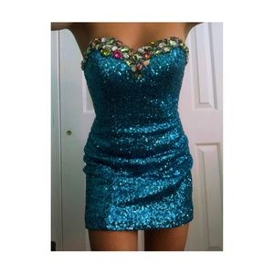 Alyce Paris Blue Strapless Dress- Homecoming
